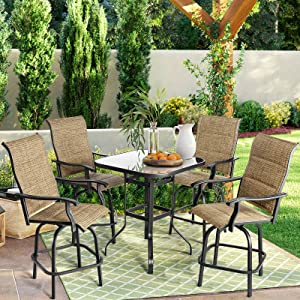 Outdoor Patio Swivel Bar Sets - Aoxun 5 Pieces Bar Height Furniture, 4 Pieces Textilene High 360° Swivel Bar Stool Chair with 1 High Glassed Top Table, Outdoor Bistro Sets, Brown