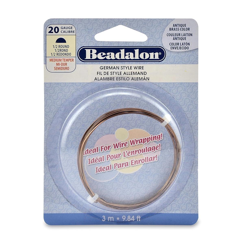 Beadalon 20-Gauge Half Round Wire for Jewelry Making, 3m, Antique Brass