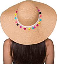 The Chic Soul Pom Pom Multi-Color Floppy Sun Straw Beach Hat