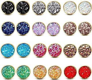 ATIMIGO Stainless Steel Druzy Stud Earrings Set for Girls Women Hypoallergenic Pierced Earrings