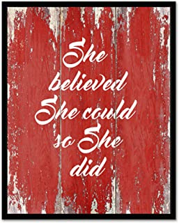 She Believed She Could So She Did - Framed - Quote Motivational Wall Art Canvas Print Home Decor, Black Real Wood Frame, Red, 7x9