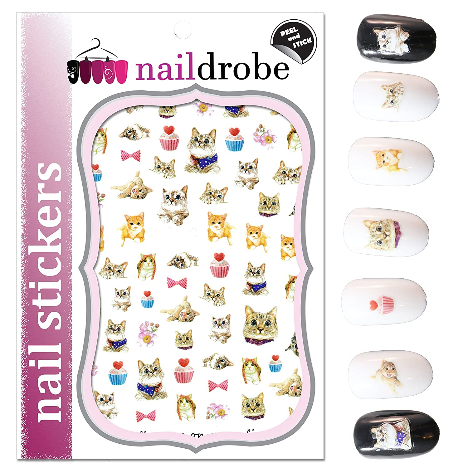 SEAL limited product Naildrobe Sweet Max 90% OFF Kitty Cat Nail Stickers