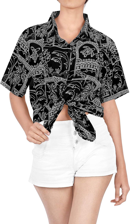 Women Hawaiian Shirt Beach Top Tank Casual Aloha Boho Holiday Blouses Button Up