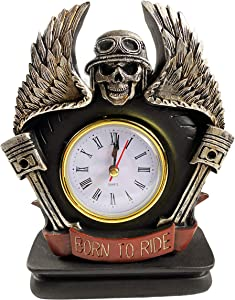 Urbalabs Born to Ride Motorcycle Biker Skull and Wings Standing Desk Clock Mechanic Gifts Man Cave Decor Clocks for Living Room Office Decor Fireplace Timepiece (Born to Ride Angel Wings)