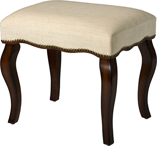 Hillsdale Furniture 50962 Hamilton Backless Vanity Stool Burnished Oak Wood And Ivory Upholstery With Nail Head Trim