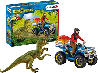 Schleich Dinosaurs Quad Escape from Velociraptor 5-Piece Educational Playset for Kids Ages 4-12