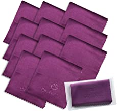"""Microfiber Cleaning Cloths 12 Pack (6""""x7"""") in Individual Vinyl Pouches   Glasses Cleaning Cloth for Eyeglasses, Phone, Screens, Electronics, Camera Lens Cleaner (Purple)"""
