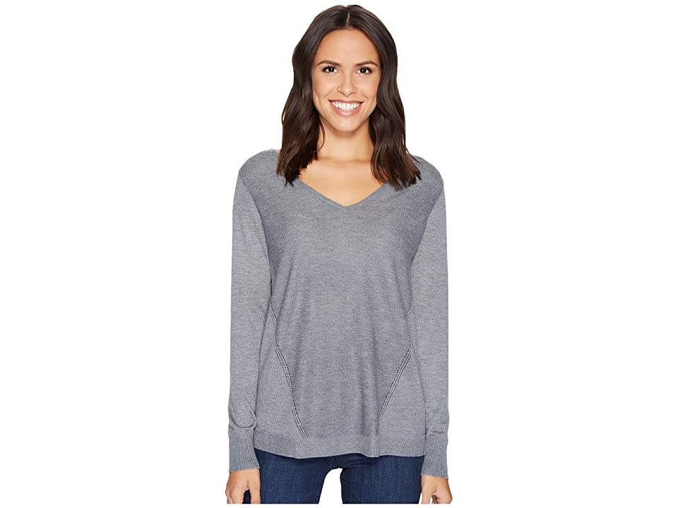 NYDJ Double V-Neck Sweater (Charcoal Heather) Women