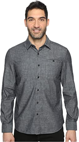 Long Sleeve Button Down Collar Solid Flannel