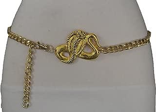 TFJ Women Fashion Belt Hip Waist Gold Metal Chains Cobra Snake Buckle XS S M