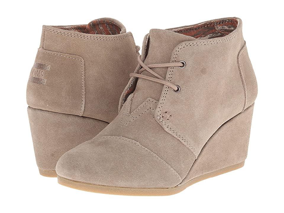 TOMS Desert Wedge (Taupe Suede) Women