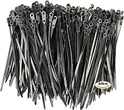 250 Premium Heavy Duty Mount Hole Zip Ties | Black Nylon Mount Hole Cable Ties | XGS Mount Hole Wire Ties by APTronix (6 Inch, Black)