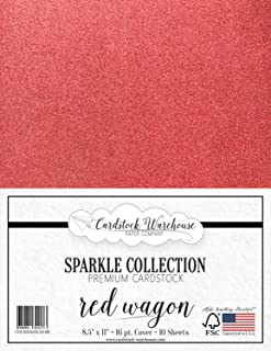 """MirriSparkle Red Wagon Glitter Cardstock Paper 8.5"""" x 11""""- 16 PT/280 GSM Heavyweight - 10 Sheets from Cardstock Warehouse"""