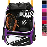 Athletico Baseball Bat Bag - Backpack for Baseball, T-Ball & Softball Equipment & Gear for Youth and Adults | Holds Bat, Helmet, Glove, ...