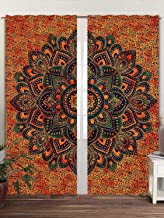 GDONLINE Multi Tye Dye Ombre Mandala Window Curtain Indian Drape Handmade Curtain Panel