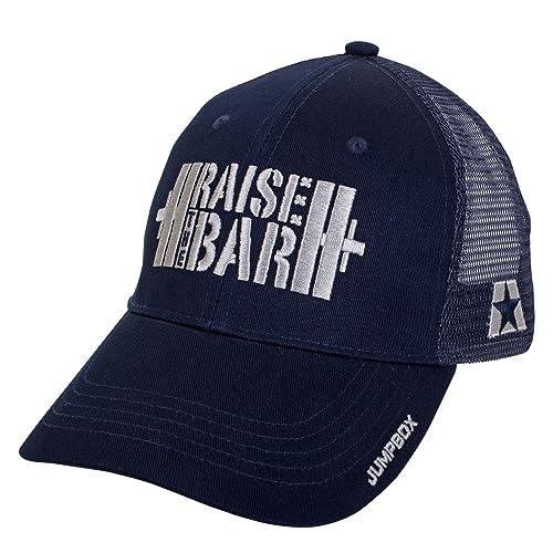 7e6c79f597d972 Jumpbox Fitness Raise the Bar Barbell Weightlifting - Blue - Curved Bill  Snapback Trucker Hat