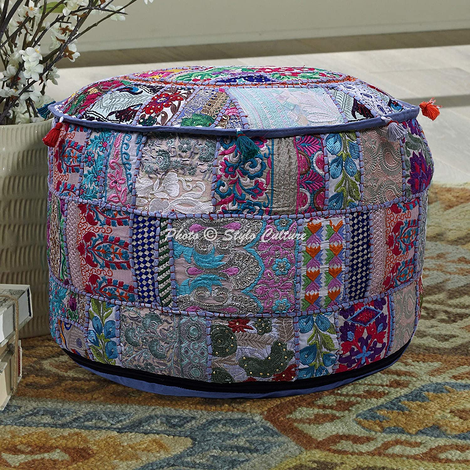 Stylo Culture Cotton Max 58% OFF shop Grey Footstool Cover Pouf for Livin Ottoman