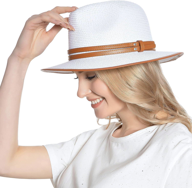 Mukeyo Womens Classic Wide Brim Straw Panama Hat Fedora Summer Beach Sun Hat UPF50+