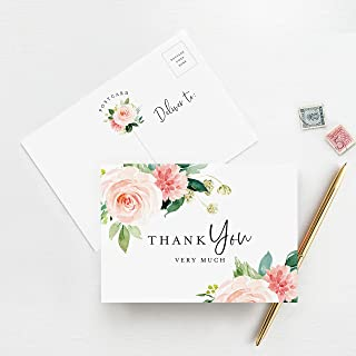 Bliss Collections Floral Thank You Cards, Postcard Style Notes, Boho Design Perfect for: Wedding, Bridal Shower, Baby Shower, Birthday, Funeral or a Great Way Just to Say Thanks, Pack of 50 4x6 Cards