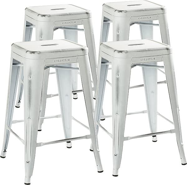 UrbanMod 24 圆凳套月的仿旧白色仿古吧台椅柜台高度 330lb 容量金属凳可叠放凳子室内室外酒吧的厨房和岛