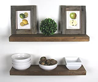 SOLID RUSTICS Handmade Rustic Wood Floating Wall Shelves, Walnut, Set of 2, (24