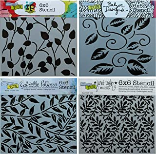 4 Crafters Workshop Stencils | Vine, Vineyard, Leaf, Climbing Vines Designs | Mixed Media Stencils Set Includes 6 Inch x 6 Inch Templates for Painting, Arts, Card Making, Journaling, Scrapbooking