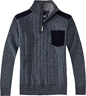 Gioberti Men's Half Zip Pullover Knitted Regular Fit Sweater with Soft Brushed Flannel Lining