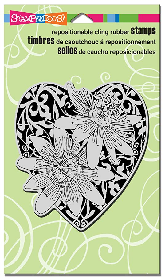 STAMPENDOUS Passion Heart Rubber Stamp Cling