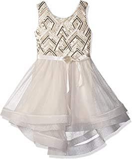 Girls' Big Sequin Bodice Party Dress with Mesh Skirt