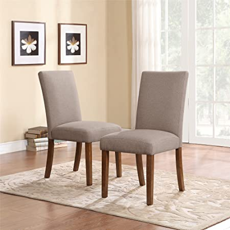 Amazon Com Dorel Living Linen Upholstered Parsons Chairs Set Of 2 Taupe Pine Home Kitchen