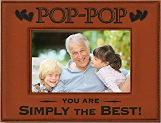 GK Grand Personal-Touch Premium Creations POP-POP Gift ~ Engraved Leatherette Picture Frame ~ POP-POP You are Simply The Best! Grandparents Day Gift, Papa Birthday Gift, Grandpa (4x6 Rawhide)