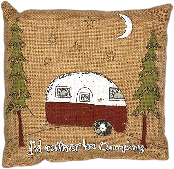 The Country House Collection Primitive Funny Burlap Jute Brown And Black 8 X 8 Throw Pillow I D Rather Be Camping
