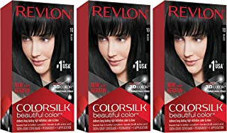 Revlon Colorsilk Beautiful Color, Permanent Hair Dye with Keratin, 100% Gray Coverage, Ammonia Free, 10 Black (Pack of 3)