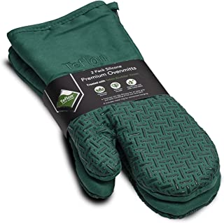 XLNT Extra Long Oven Mitts (Green) | Teflon Heat Resistant, Water Repellent Kitchen Gloves for Oven Cooking, Grill & BBQ | Non Slip Silicone Gloves with Eco Elite Coating, Cotton Lining & Hanging Loop