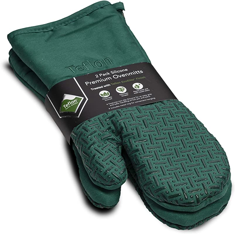 Xlnt Green Premium Non Slip Silicone Oven Mitts Heat Resistant With Teflon Eco Elite Finish Hanging Loop Great For Home Baker Or Commercial Chef Use