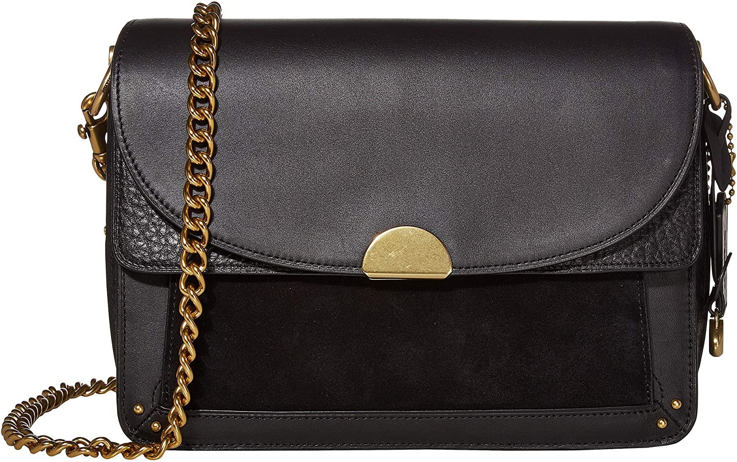 COACH Mixed Leather Dreamer Shoulder Bag Black/Brass One Size