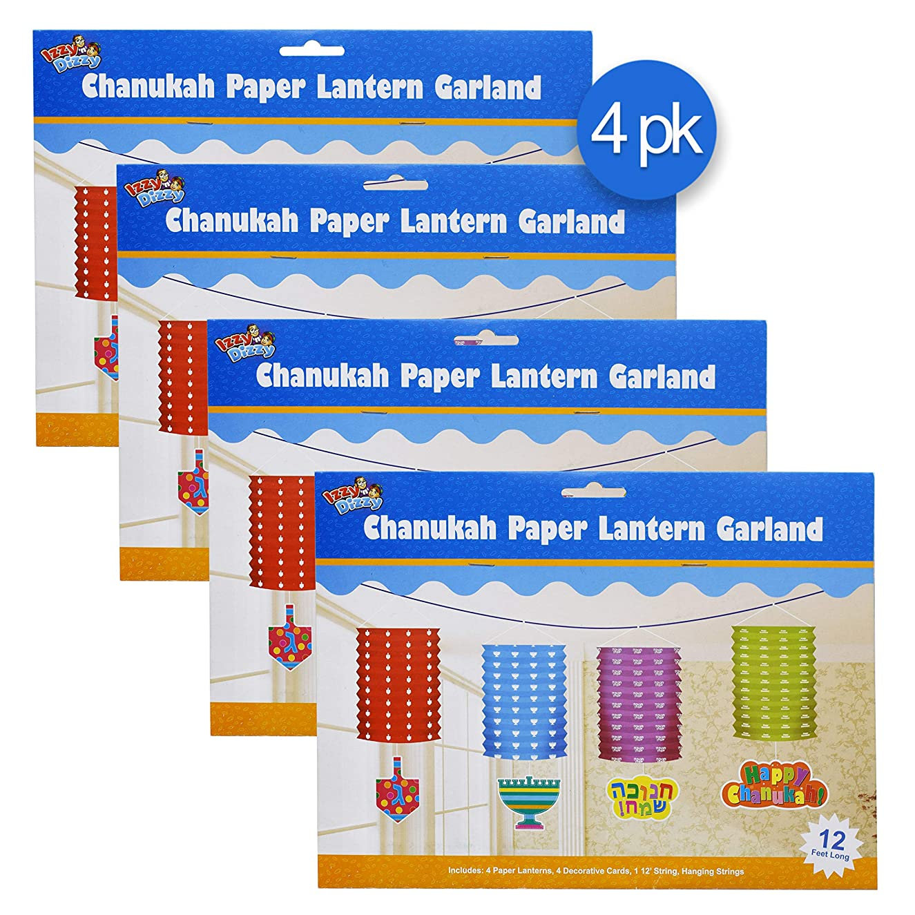 Hanukkah Chain Link Garland - 16 Links - Up to 48 Feet Long - Self Stick Edges - Hanukah Party Decorations and Supplies - Izzy 'n' Dizzy