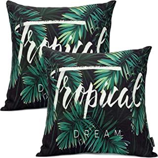 Booque Valley Palm Tree Accent Pillow Covers, Set of 2 Tropical Leaves Summer Cushions, Vibrant Palm Leaves Printing on Polylinen Woven Fabric Pillow Cases, 17 x 17 inch(Green and Black)