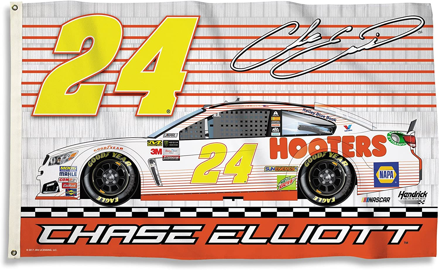 NASCAR Chase Elliott NASCAR Chase Elliott  24Hooters 2-Sided 3' x 5' Flag with Grommets, Team color,
