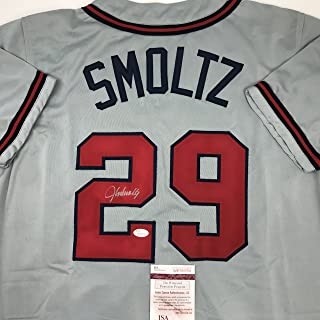 Autographed/Signed John Smoltz Atlanta Grey Baseball Jersey JSA COA