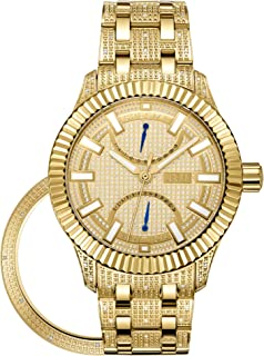 JBW Luxury Men's Crowne 50 Diamonds Interchangable Fluted Bezel Watch - J6363B