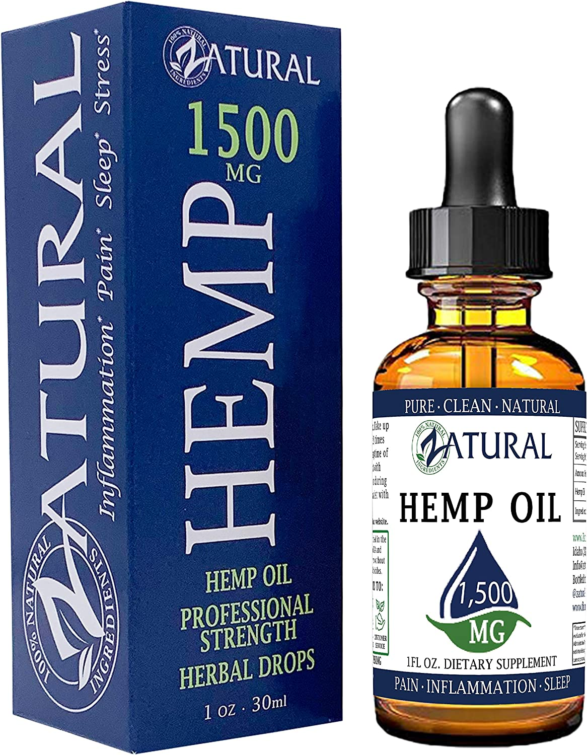 1,500mg Zatural Hemp Oil Drops: Hemp Seed Oil for Pain Relief, Anxiety, Stress, Relaxation, Better Sleep and Mood – Natural, Anti Inflammatory and Immune Support. Rich in Omega 3 & 6 (1,500mg Natural)