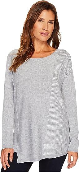 Long Sleeve Tunic Sweater w/ Basket Weave Side Detail