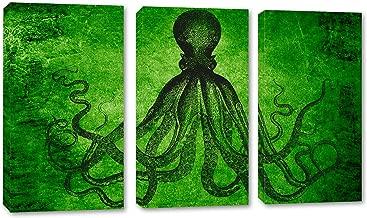 36 x 24 Total - Lord Bodner Octopus Triptych Canvas Print Wall Art - Green, 3 Panel Split. Kraken Room Wall Decor