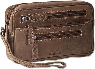 Woodland®–Practical Wallet Wristlet for Men Nazurbelassenem Buffalo Leather Dark Brown/Taupe