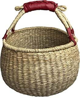 COCOBOO - Natural Bolga Handcrafted Seagrass Basket, Grocery Basket, Tote Storage Baskets, Eco Friendly 14 x 9/14 inches (natural)