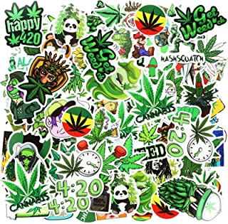 Zonon 200 Pieces Funny Weed Stickers Green Weed Graffiti Decals for Water Bottle Vinyl Waterproof Mixed Leaves Stickers fo...