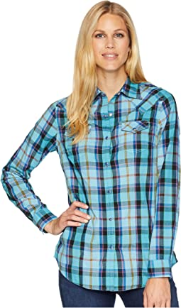 Long Sleeve Woven Plaid Snap