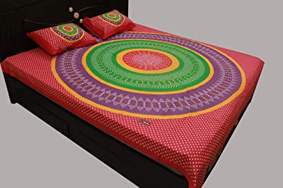 ARICCA® Home 100% Cotton Round Circle Jaipuri Printed Double Bedsheet with 2 Pillow Covers (Colour: Pink)