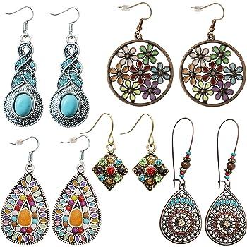 Colorful Bohemian Feather Dangle Drop Earring Gifts for Women Girls Jewelry000001001594